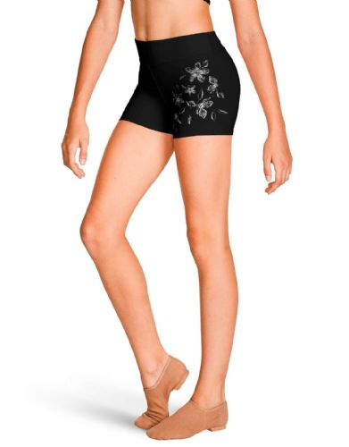 Bloch Girls Dance High Waist Bike Shorts with Metallic Floral Print FR5215C